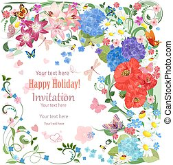 lovely invitation card with beautiful flowers and butterfly for