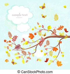 lovely invitation card with branch of tree and flying butterflie