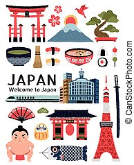 Lovely Japan cultural symbol set, delicious dishes and ...