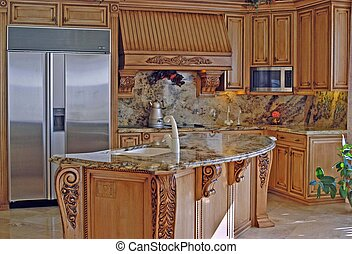 home kitchen design with nice wood cabintes and granite stone countertops