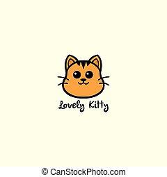 Lovely Kitty, Cute Cat Logo Vector Design Illustration...