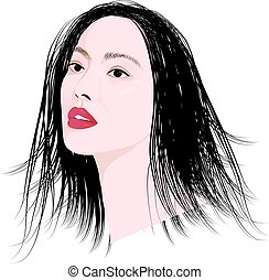 lovely lady face vector design