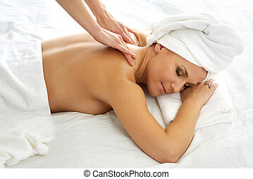 massage - lovely lady in massage salon