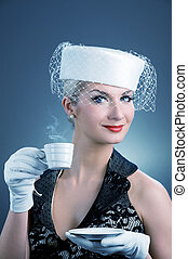 Lovely lady with coffee cup