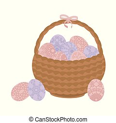 Light brown wicker basket Easter with patterned flowers pink and blue eggs and a pink bow isolated on white background
