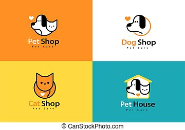 Lovely line style pet logo set