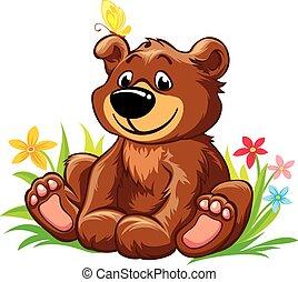 Lovely little bear sitting on grass - Vector illustration...