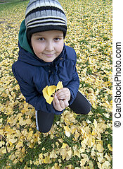 Lovely little boy collecting autumn leaves