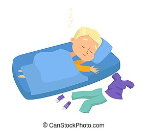 Lovely Little Boy Sleeping Sweetly in his Bed, Bedtime, Sweet Dreams of Adorable Kid Concept Cartoon Style Vector Illustration