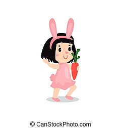 Lovely little girl in the costume of pink bunny, kid in...
