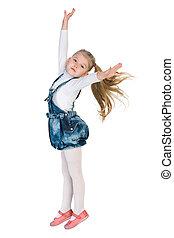 Lovely little girl jumps