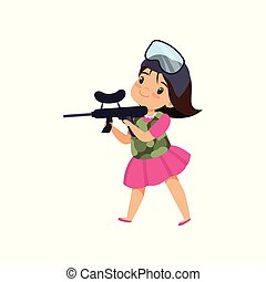 Lovely little girl playing paintball with gun vector Illustration on a white background