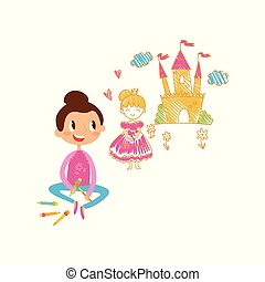 Lovely little girl sitting on the floor and drawing castle and princess with color pencils on the wall, young artist, kids activity routine vector Illustration