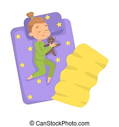 Lovely Little Girl Sleeping Sweetly in her Bed with Teddy Bear, Bedtime, Sweet Dreams of Adorable Kid Concept Cartoon Style Vector Illustration