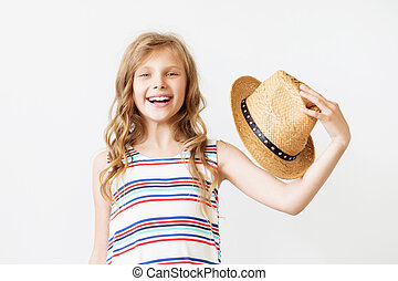 lovely little girl with straw hat
