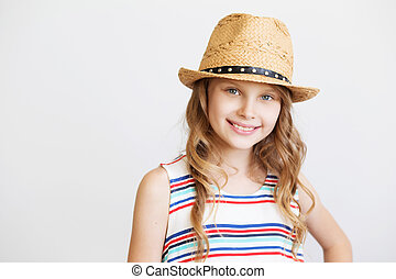 lovely little girl with straw hat on white background