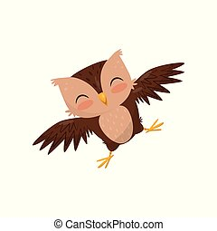 Lovely little owlet, cute bird cartoon character vector Illustration on a white background