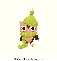 Lovely little owlet wearing green knitted hat and scarf, cute bird cartoon character vector Illustration on a white background