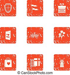 Lovely locale icons set, grunge style - Lovely locale icons...