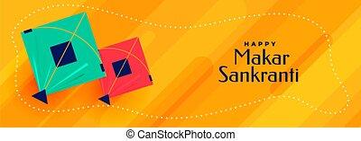 lovely makar sankranti kites festival banner design