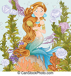 Lovely mermaid combing her long hair on undersea background