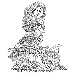 Lovely mermaid combing her long hair outlined