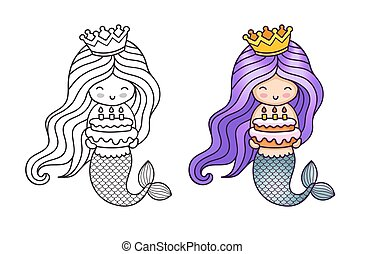 Lovely mermaid with purple gradient hair, holding a birthday cake.