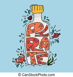 Lovely modern illustration with hand-drawn lettering Pirate inside the bottle.