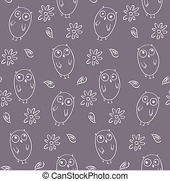Lovely monochrome seamless pattern with cute owls