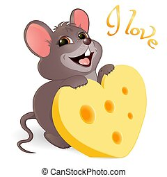 Lovely mouse with cheese