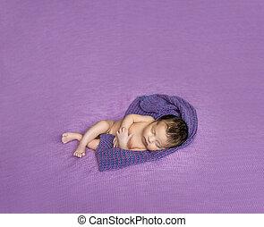newborn baby asleep on a purple blanket