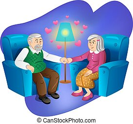 Lovely old couple holding hands