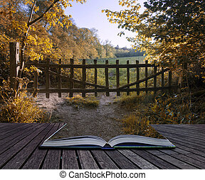 Lovely old gate into countryside field Autumn landscape conceptu