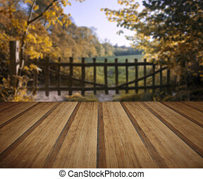 Lovely old gate into countryside field Autumn landscape with wooden planks floor