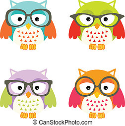 Lovely Owls with Glasses - Scalable vectorial image...