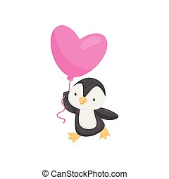 Lovely penguin with pink heart-shaped balloon. Cartoon character of cute animal. Love theme. Flat vector design