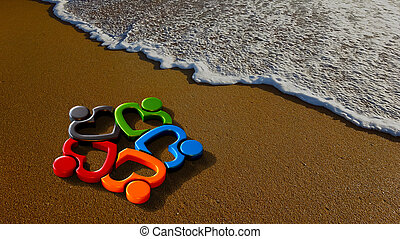 Lovely People Group at the Beach. 3D Rendering Illustration