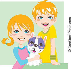 Lovely Pet - Red haired boy and girl brothers posing with...