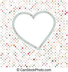 Lovely pink blue polka dots heart frame. EPS 8