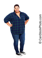 lovely plus size woman - happy lovely large woman standing...