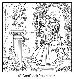 Lovely princess in park with statue of a cupid archer...