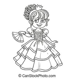 Lovely princess with fan in hand outlined picture for coloring book on white background