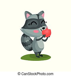 Lovely raccoon eating ripe red apple. Cartoon character of wild forest animal with happy face expression. Flat vector icon