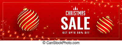 lovely red christmas sale banner design