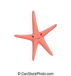 Lovely red starfish, cute sea creature character vector Illustration on a white background