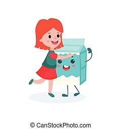 Lovely redhead girl hugging humanized cardboard box of milk, healthy food for kid cartoon vector illustration