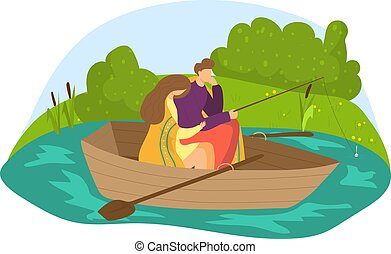 Lovely romantic couple, natural outdoor relaxing fishing, male together female sitting cozy boat flat vector illustration, isolated on white.