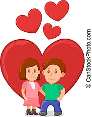 Lovely romantic couple standing hug and gift present, spring valentine day, date lover pair cartoon vector illustration, isolated on white.