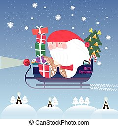 lovely Santa Claus riding on sleigh