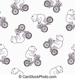 Lovely seamless pattern with funny cartoon bear wearing dotted bow tie and riding bicycle with basket full of tulip flowers. Vector illustration for wallpaper, textile print, wrapping paper, backdrop.